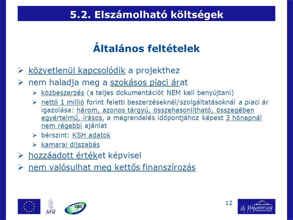 12 5.2. Elszámolható költségek Általános feltételek  közvetlenül kapcsolódik a projekthez  nem haladja meg a szokásos piaci árat  közbeszerzés (a t