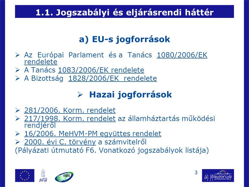 3 1.1. Jogszabályi és eljárásrendi háttér a) EU-s jogforrások  Az Európai Parlament és a Tanács 1080/2006/EK rendelete  A Tanács 1083/2006/EK rendel