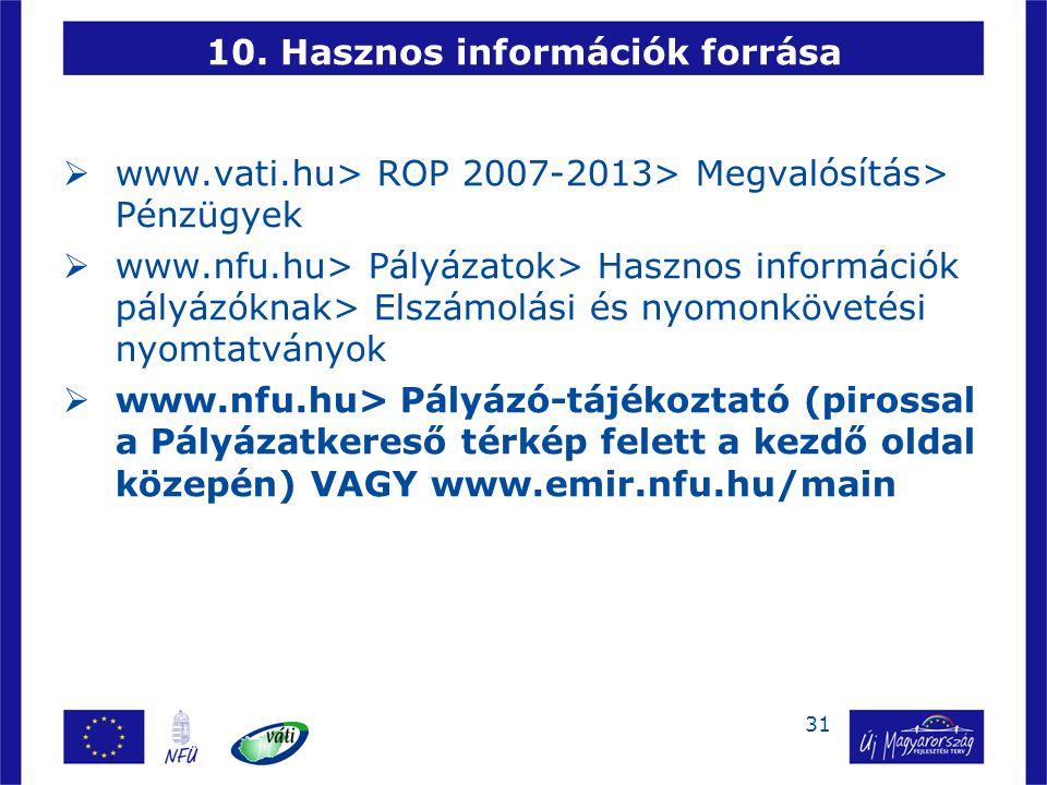 31 10. Hasznos információk forrása  www.vati.hu> ROP 2007-2013> Megvalósítás> Pénzügyek  www.nfu.hu> Pályázatok> Hasznos információk pályázóknak> El