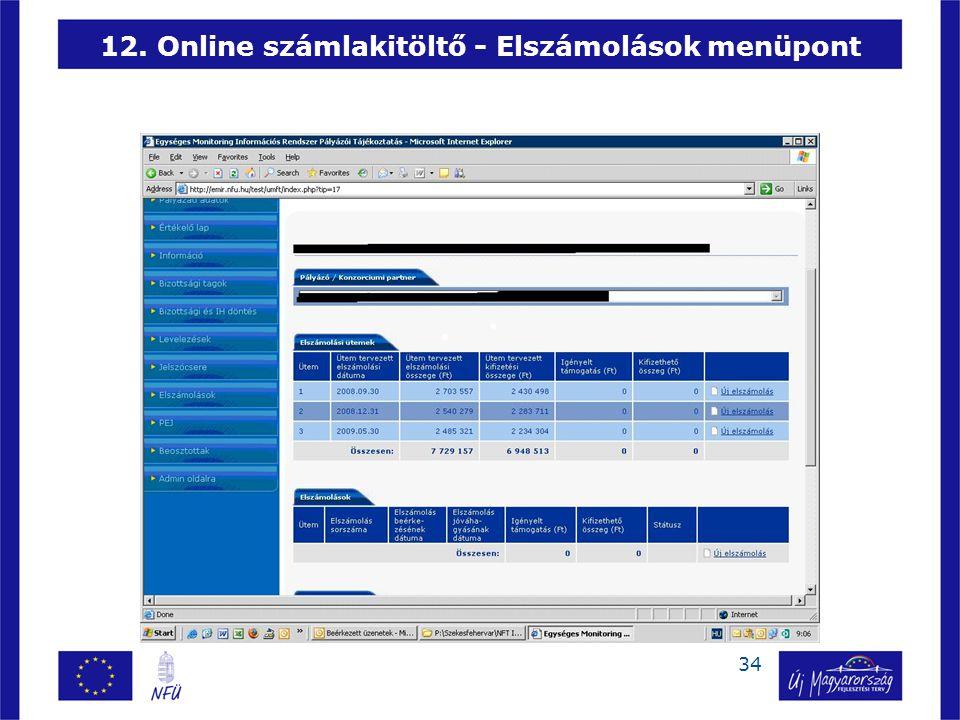 34 12. Online számlakitöltő - Elszámolások menüpont