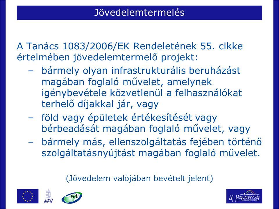 Jövedelemtermelés A Tanács 1083/2006/EK Rendeletének 55. cikke értelmében jövedelemtermelő projekt: –bármely olyan infrastrukturális beruházást magába
