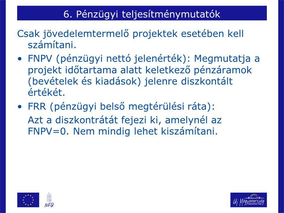 6. Pénzügyi teljesítménymutatók Csak jövedelemtermelő projektek esetében kell számítani. FNPV (pénzügyi nettó jelenérték): Megmutatja a projekt időtar