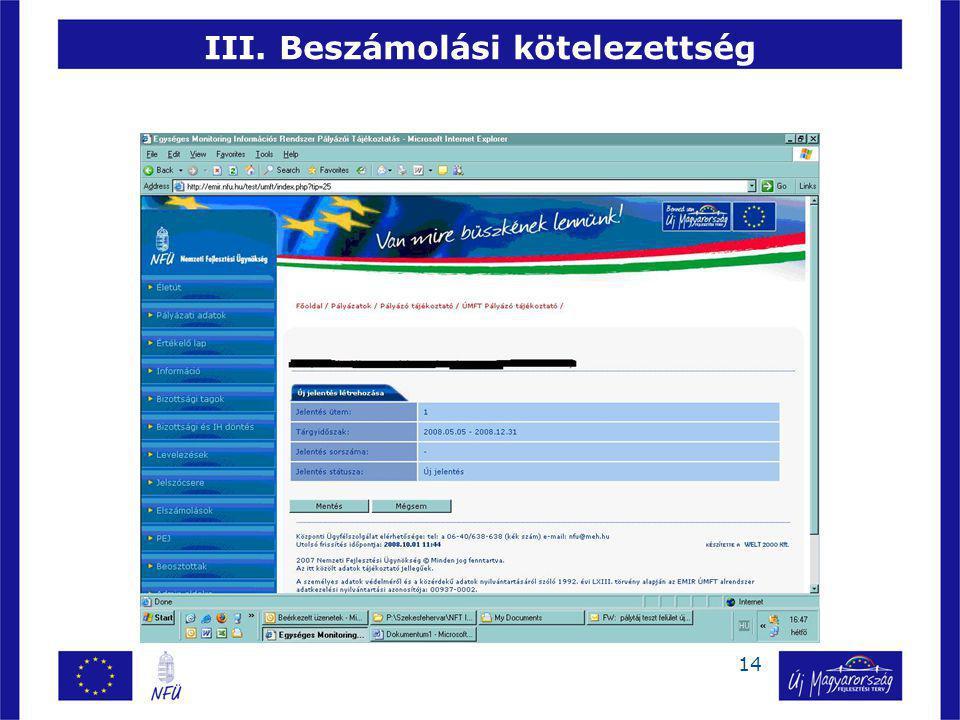 14 III. Beszámolási kötelezettség