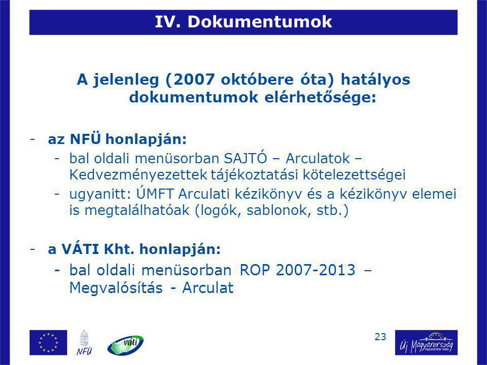 23 IV. Dokumentumok A jelenleg (2007 októbere óta) hatályos dokumentumok elérhetősége: -az NFÜ honlapján: -bal oldali menüsorban SAJTÓ – Arculatok – K