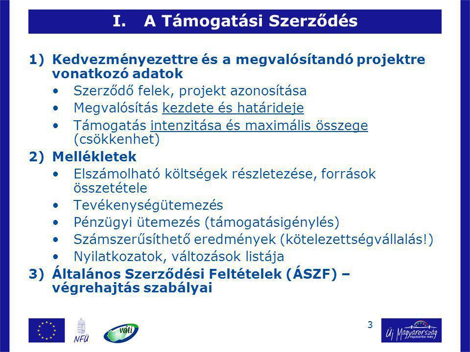 3 I.A Támogatási Szerződés 1)Kedvezményezettre és a megvalósítandó projektre vonatkozó adatok Szerződő felek, projekt azonosítása Megvalósítás kezdete