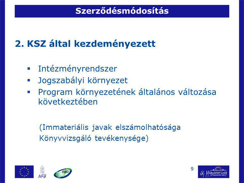 9 Szerződésmódosítás 2.KSZ által kezdeményezett  Intézményrendszer  Jogszabályi környezet  Program környezetének általános változása következtében