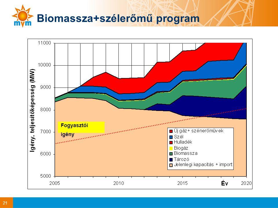 21 Biomassza+szélerőmű program Fogyasztói igény
