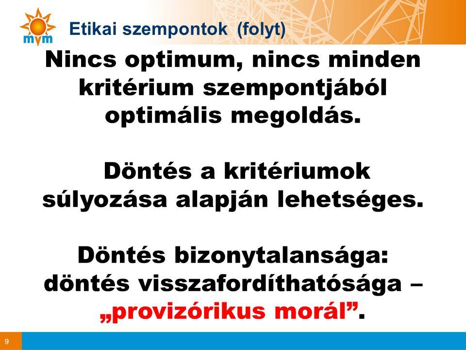 10 Magyar energia politika Eszközrendszer: az energiahatékonyság javítása, igénynövekedési ütem mérséklése; a megfelelő energiahordozó-struktúra kialakítása (megújuló, nukleáris, szén…); fogyasztói érdekeket szolgáló versenypiac; befektetés-barát gazdasági környezet; az energiaforrás- és szállítás-diverzifikáció szélesítése; stratégiai készletezés; az Európai Unió részeként jó energetikai kapcsolatok; Más országokban: nemzeti társaság + Nemzeti Éghajlatváltozási Stratégia + Magyarország megújuló energiaforrás felhasználás növelésének stratégiája Kritériumok, de alku eredményeként!