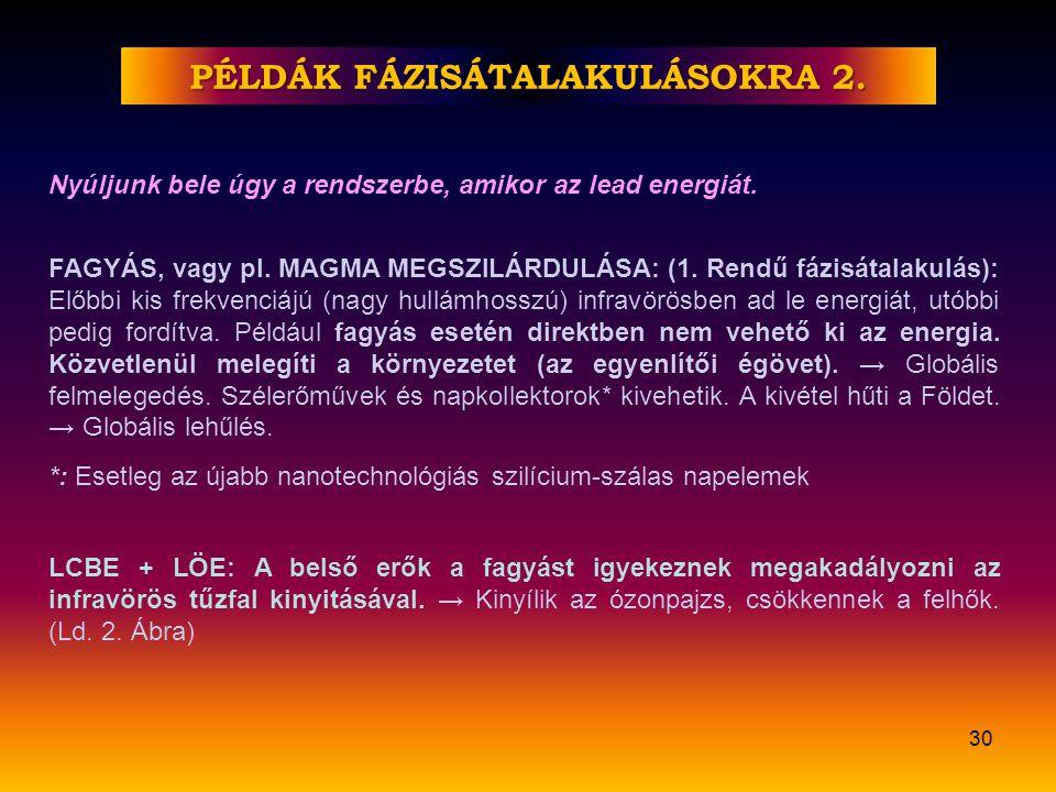 FÖLDTÖRTÉNETI KORSZAKOK A FÁZISÁTALAKULÁSOK MINDEGYIKBEN ÉRVÉNYESEK 29