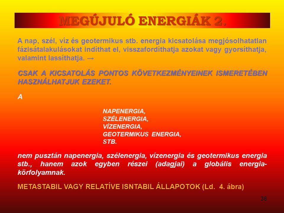 MEGÚJULÓ ENERGIÁK 1. 3. DEFINÍCIÓ: 3. DEFINÍCIÓ: Megújuló az az energia, amely a rendszerből számottevő rendszerbeli következmény nélkül –ismétlődően–