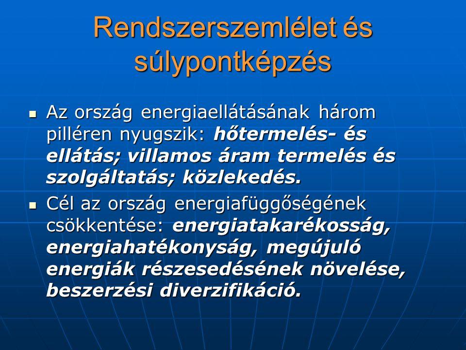 Rendszerszemlélet és súlypontképzés Az ország energiaellátásának három pilléren nyugszik: hőtermelés- és ellátás; villamos áram termelés és szolgáltat