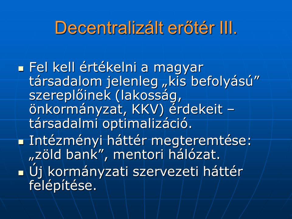 """Decentralizált erőtér III. Fel kell értékelni a magyar társadalom jelenleg """"kis befolyású"""" szereplőinek (lakosság, önkormányzat, KKV) érdekeit – társa"""