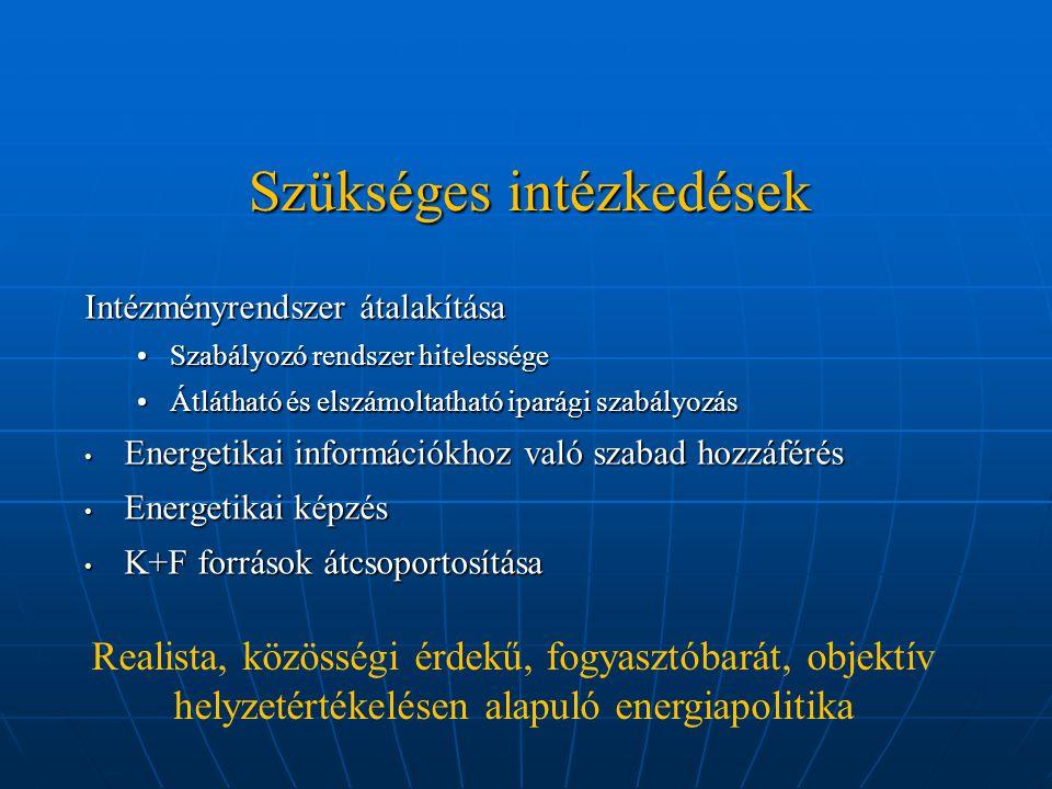 Szükséges intézkedések Intézményrendszer átalakítása Szabályozó rendszer hitelességeSzabályozó rendszer hitelessége Átlátható és elszámoltatható iparági szabályozásÁtlátható és elszámoltatható iparági szabályozás Energetikai információkhoz való szabad hozzáférés Energetikai információkhoz való szabad hozzáférés Energetikai képzés Energetikai képzés K+F források átcsoportosítása K+F források átcsoportosítása Realista, közösségi érdekű, fogyasztóbarát, objektív helyzetértékelésen alapuló energiapolitika