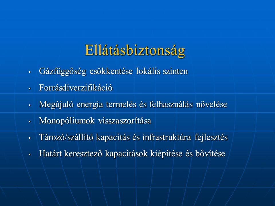 Ellátásbiztonság Gázfüggőség csökkentése lokális szinten Gázfüggőség csökkentése lokális szinten Forrásdiverzifikáció Forrásdiverzifikáció Megújuló energia termelés és felhasználás növelése Megújuló energia termelés és felhasználás növelése Monopóliumok visszaszorítása Monopóliumok visszaszorítása Tározó/szállító kapacitás és infrastruktúra fejlesztés Tározó/szállító kapacitás és infrastruktúra fejlesztés Határt keresztező kapacitások kiépítése és bővítése Határt keresztező kapacitások kiépítése és bővítése