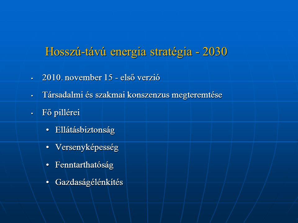 Hosszú-távú energia stratégia - 2030 2010. november 15 - első verzió 2010. november 15 - első verzió Társadalmi és szakmai konszenzus megteremtése Tár