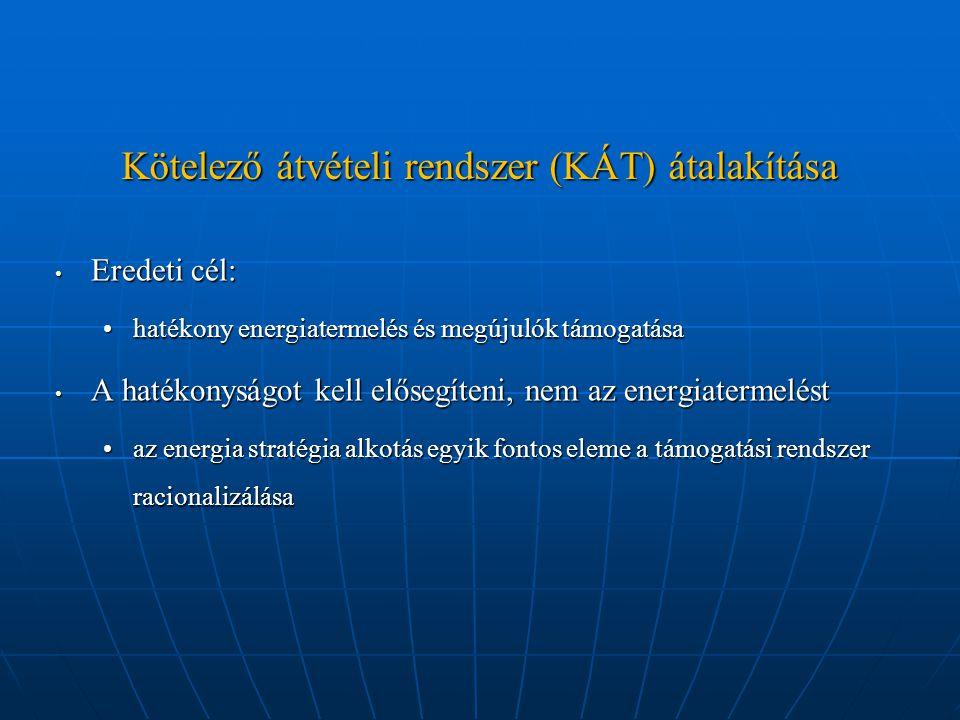 Kötelező átvételi rendszer (KÁT) átalakítása Eredeti cél: Eredeti cél: hatékony energiatermelés és megújulók támogatásahatékony energiatermelés és meg
