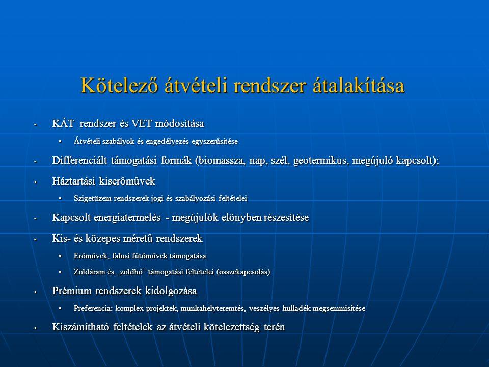 Kötelező átvételi rendszer átalakítása KÁT rendszer és VET módosítása KÁT rendszer és VET módosítása Átvételi szabályok és engedélyezés egyszerűsítése
