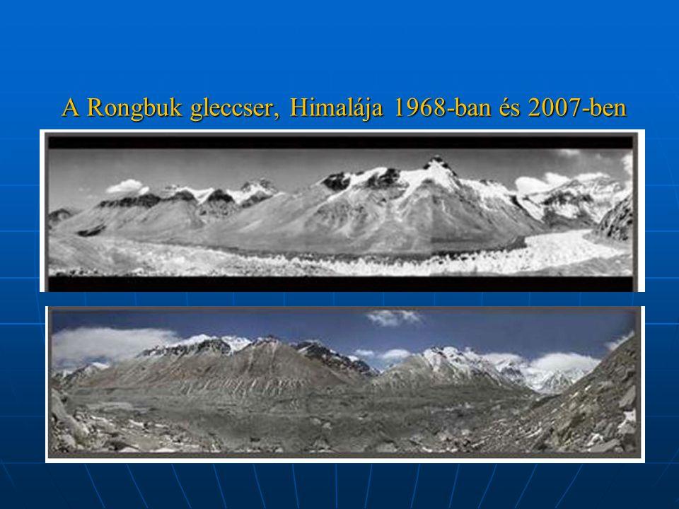 A Rongbuk gleccser, Himalája 1968-ban és 2007-ben