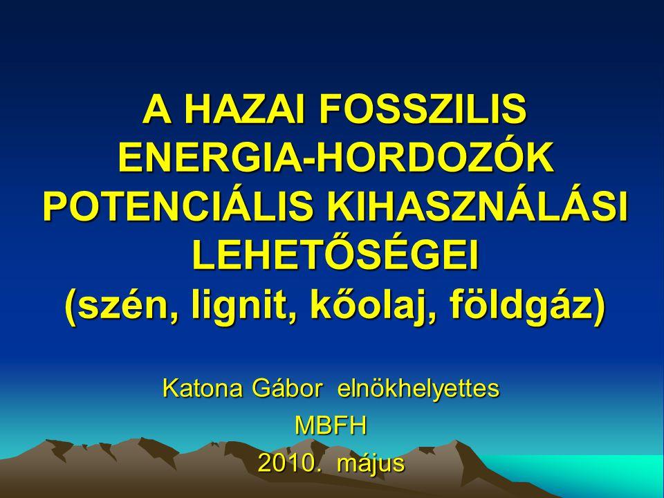 A HAZAI FOSSZILIS ENERGIA-HORDOZÓK POTENCIÁLIS KIHASZNÁLÁSI LEHETŐSÉGEI (szén, lignit, kőolaj, földgáz) Katona Gábor elnökhelyettes MBFH 2010.
