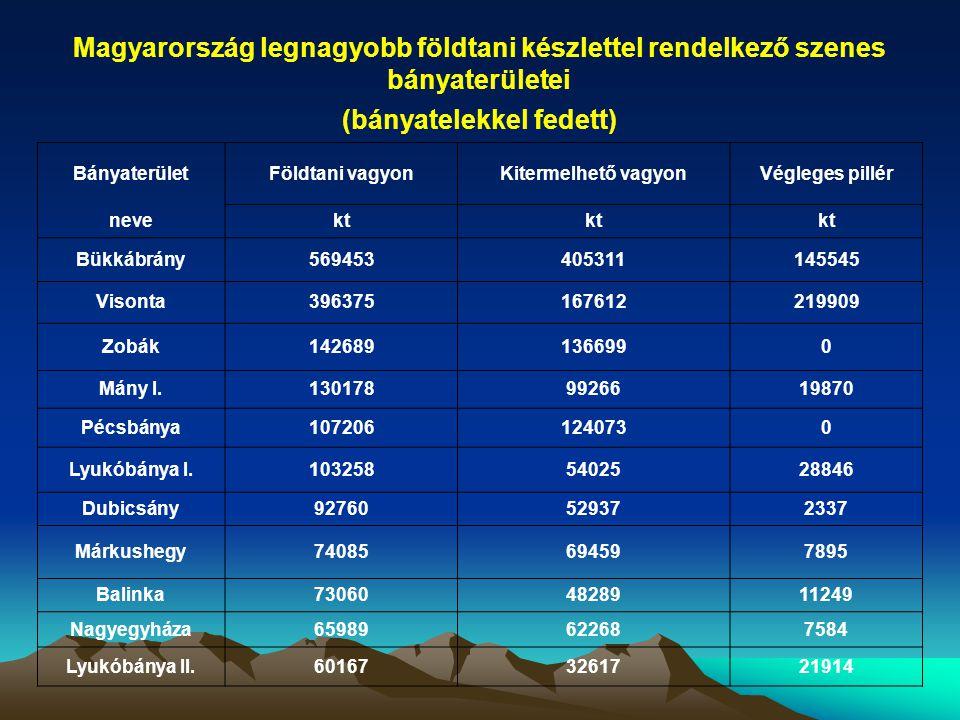 NyersanyagBányaterület Földtani vagyonKitermelhető vagyon kt 1.