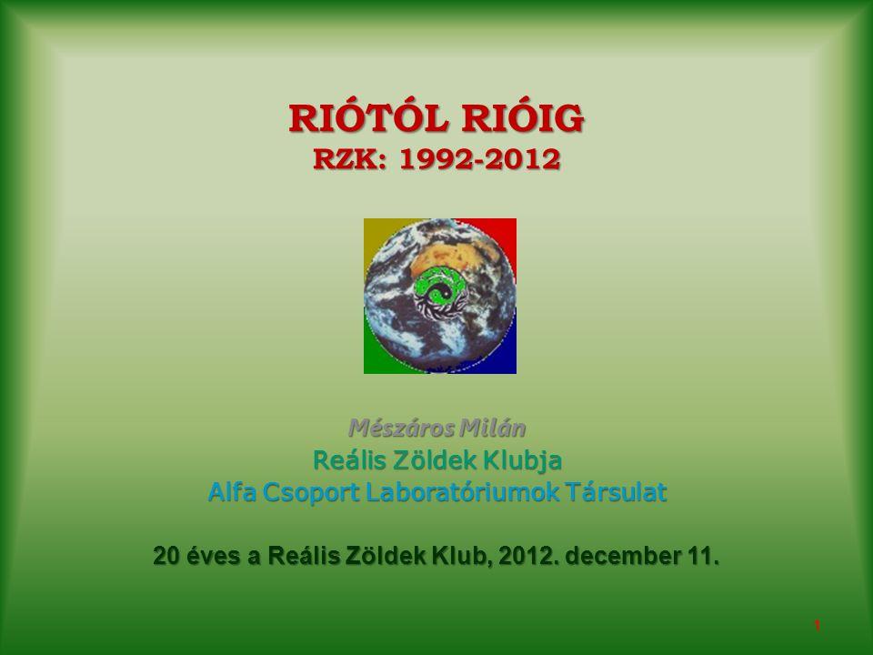 RIÓTÓL RIÓIG RZK: 1992-2012 Mészáros Milán Reális Zöldek Klubja Alfa Csoport Laboratóriumok Társulat 20 éves a Reális Zöldek Klub, 2012.