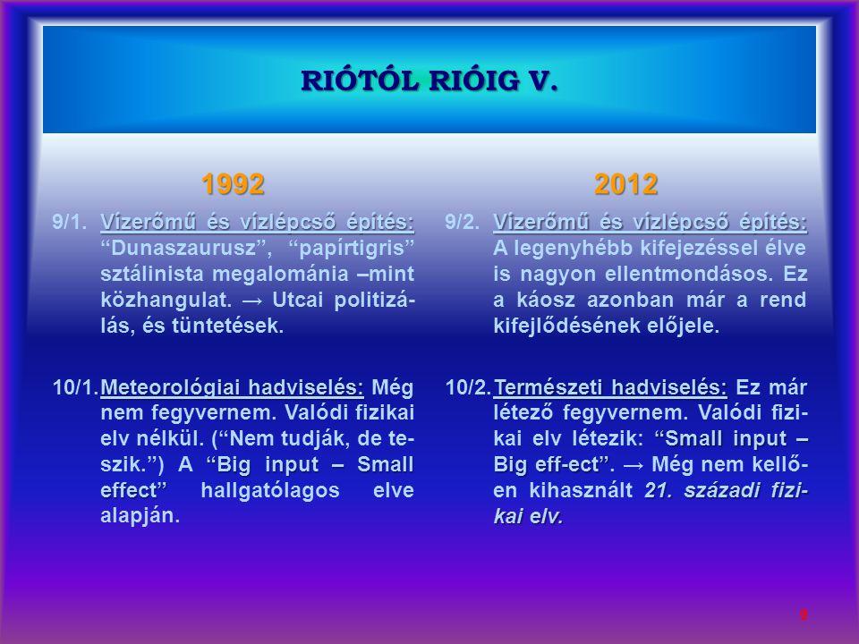"""1992 Vízerőmű és vízlépcső építés: 9/1.Vízerőmű és vízlépcső építés: """"Dunaszaurusz"""", """"papírtigris"""" sztálinista megalománia –mint közhangulat. → Utcai"""