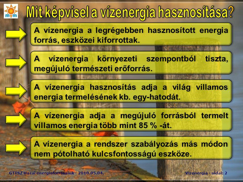 GTTSZ Hazai energiaforrásaink - 2010.05.04.Vízenergia - oldal: 2 A vízenergia a legrégebben hasznosított energia forrás, eszközei kiforrottak.