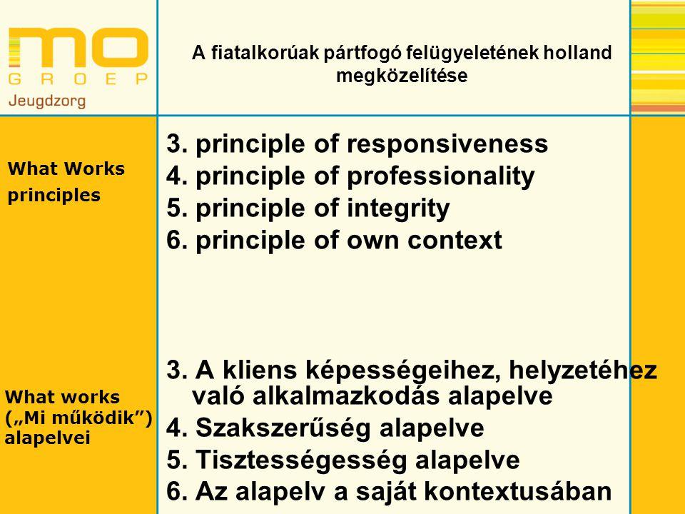 A fiatalkorúak pártfogó felügyeletének holland megközelítése 3. principle of responsiveness 4. principle of professionality 5. principle of integrity