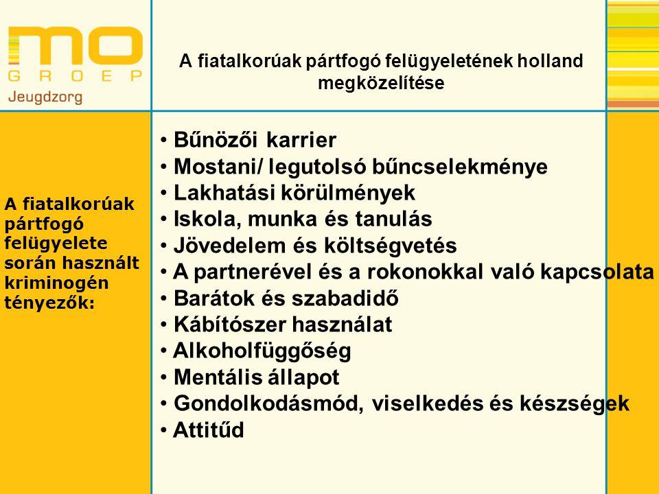 A fiatalkorúak pártfogó felügyeletének holland megközelítése Bűnözői karrier Mostani/ legutolsó bűncselekménye Lakhatási körülmények Iskola, munka és