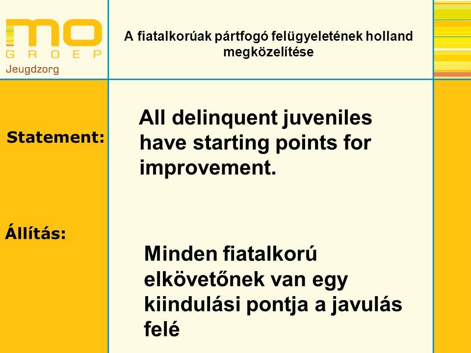 A fiatalkorúak pártfogó felügyeletének holland megközelítése Bűnözői karrier Mostani/ legutolsó bűncselekménye Lakhatási körülmények Iskola, munka és tanulás Jövedelem és költségvetés A partnerével és a rokonokkal való kapcsolata Barátok és szabadidő Kábítószer használat Alkoholfüggőség Mentális állapot Gondolkodásmód, viselkedés és készségek Attitűd A fiatalkorúak pártfogó felügyelete során használt kriminogén tényezők: