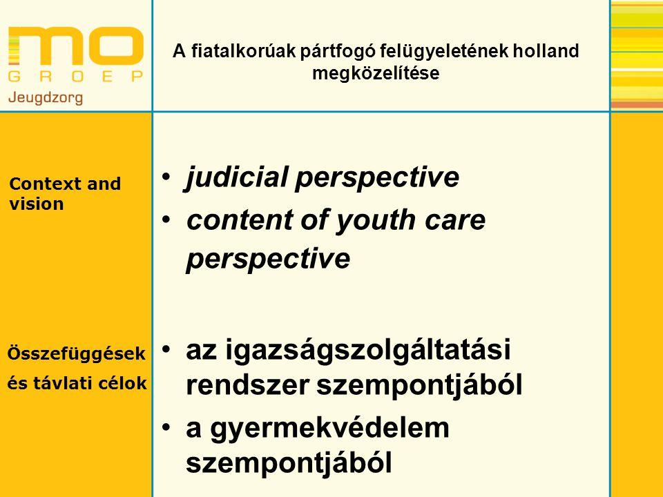 A fiatalkorúak pártfogó felügyeletének holland megközelítése judicial perspective content of youth care perspective az igazságszolgáltatási rendszer szempontjából a gyermekvédelem szempontjából Context and vision Összefüggések és távlati célok