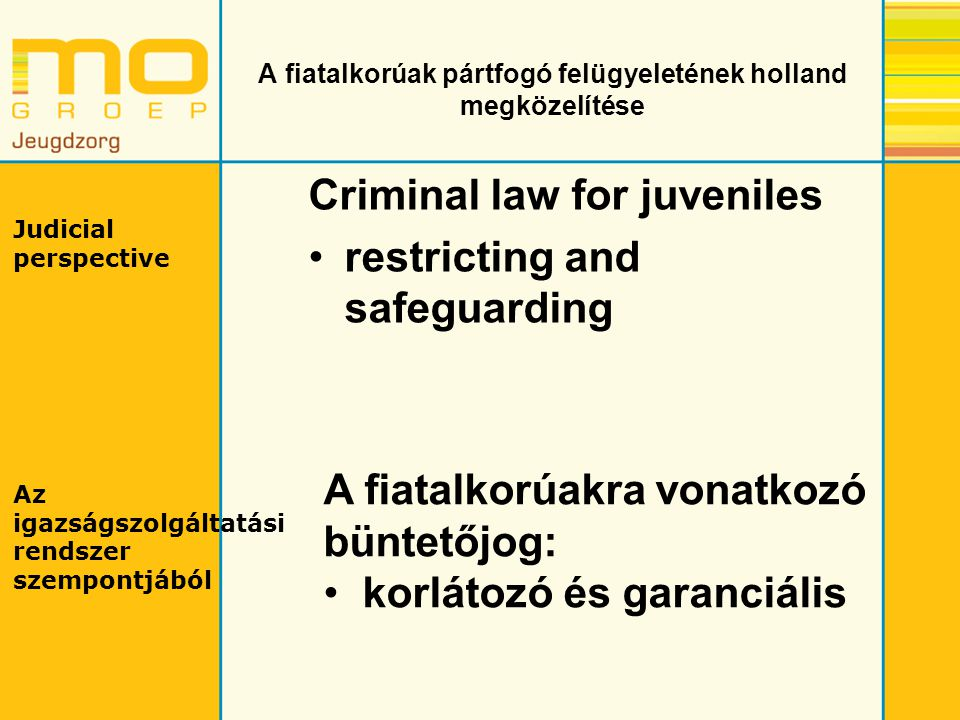 A fiatalkorúak pártfogó felügyeletének holland megközelítése Criminal law for juveniles restricting and safeguarding Judicial perspective Az igazságsz