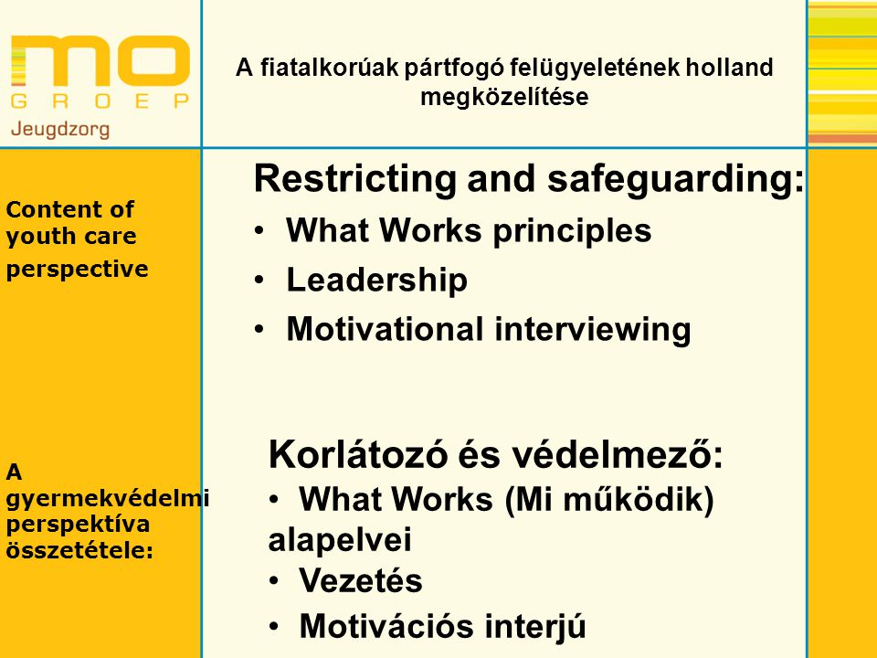 A fiatalkorúak pártfogó felügyeletének holland megközelítése Restricting and safeguarding: What Works principles Leadership Motivational interviewing