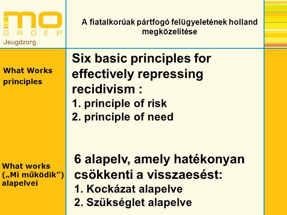 A fiatalkorúak pártfogó felügyeletének holland megközelítése Six basic principles for effectively repressing recidivism : 1. principle of risk 2. prin