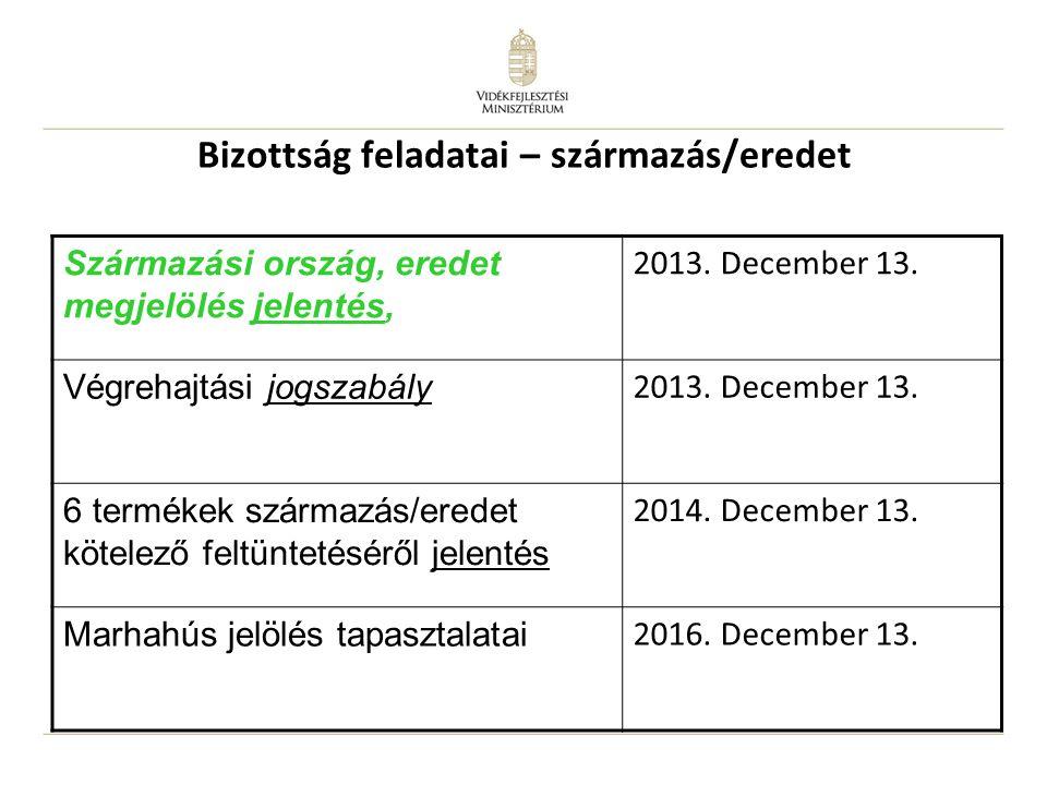 Bizottság feladatai – származás/eredet Származási ország, eredet megjelölés jelentés, 2013. December 13. Végrehajtási jogszabály 2013. December 13. 6