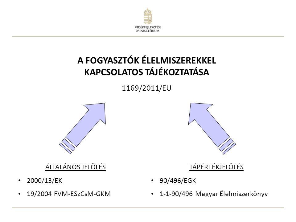 ÁLTALÁNOS JELÖLÉS 2000/13/EK 19/2004 FVM-ESzCsM-GKM TÁPÉRTÉKJELÖLÉS 90/496/EGK 1-1-90/496 Magyar Élelmiszerkönyv A FOGYASZTÓK ÉLELMISZEREKKEL KAPCSOLA