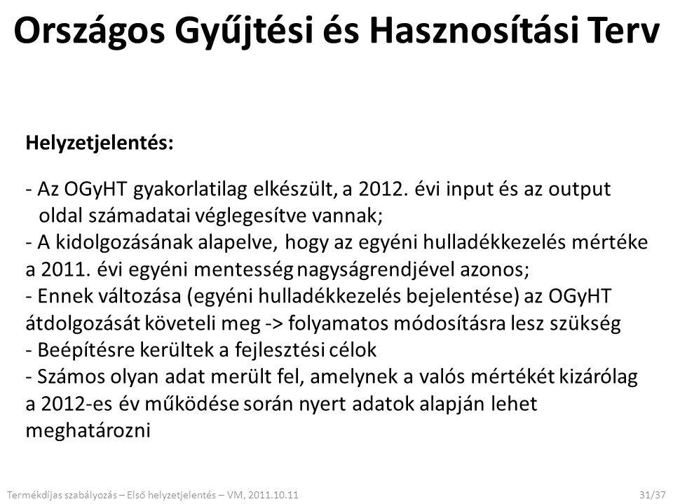 Országos Gyűjtési és Hasznosítási Terv 31/37 Helyzetjelentés: - Az OGyHT gyakorlatilag elkészült, a 2012.