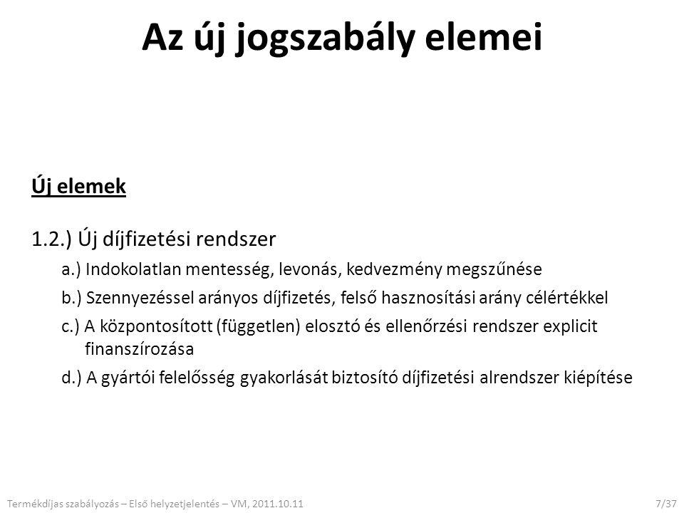 Az új jogszabály elemei Új elemek 1.2.) Új díjfizetési rendszer a.) Indokolatlan mentesség, levonás, kedvezmény megszűnése b.) Szennyezéssel arányos d