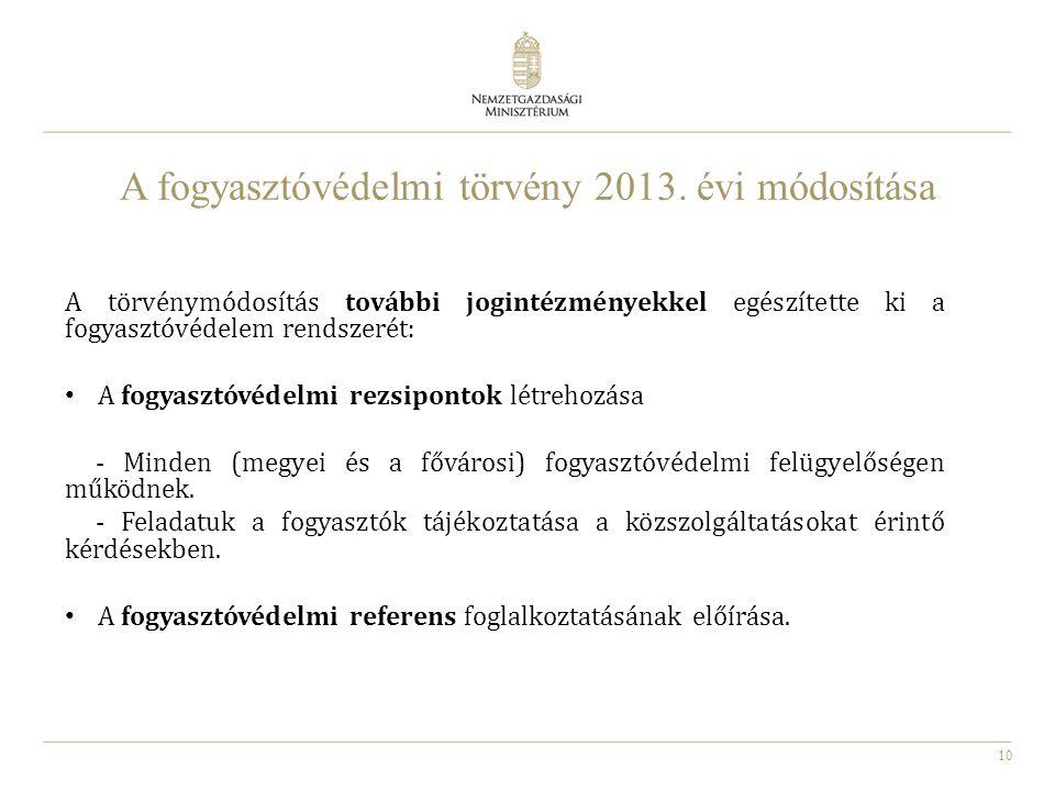 10 A fogyasztóvédelmi törvény 2013. évi módosítása A törvénymódosítás további jogintézményekkel egészítette ki a fogyasztóvédelem rendszerét: A fogyas