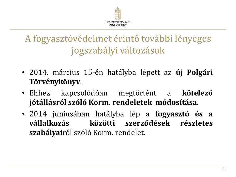 17 A fogyasztóvédelmet érintő további lényeges jogszabályi változások 2014. március 15-én hatályba lépett az új Polgári Törvénykönyv. Ehhez kapcsolódó