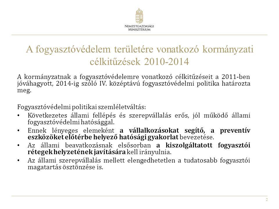 2 A fogyasztóvédelem területére vonatkozó kormányzati célkitűzések 2010-2014 A kormányzatnak a fogyasztóvédelemre vonatkozó célkitűzéseit a 2011-ben j