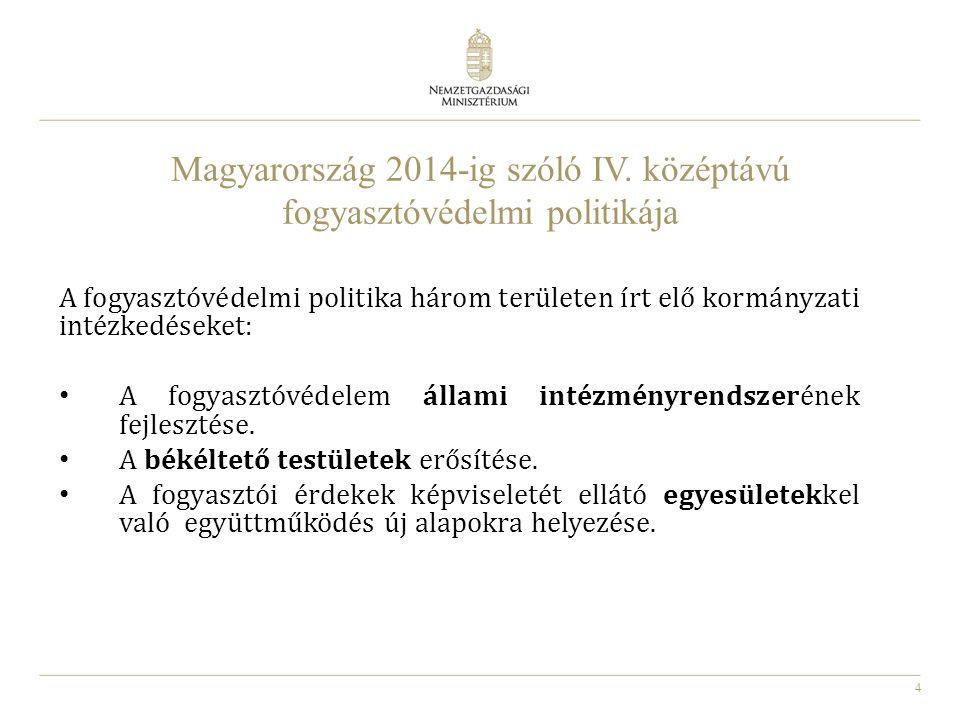 4 Magyarország 2014-ig szóló IV. középtávú fogyasztóvédelmi politikája A fogyasztóvédelmi politika három területen írt elő kormányzati intézkedéseket: