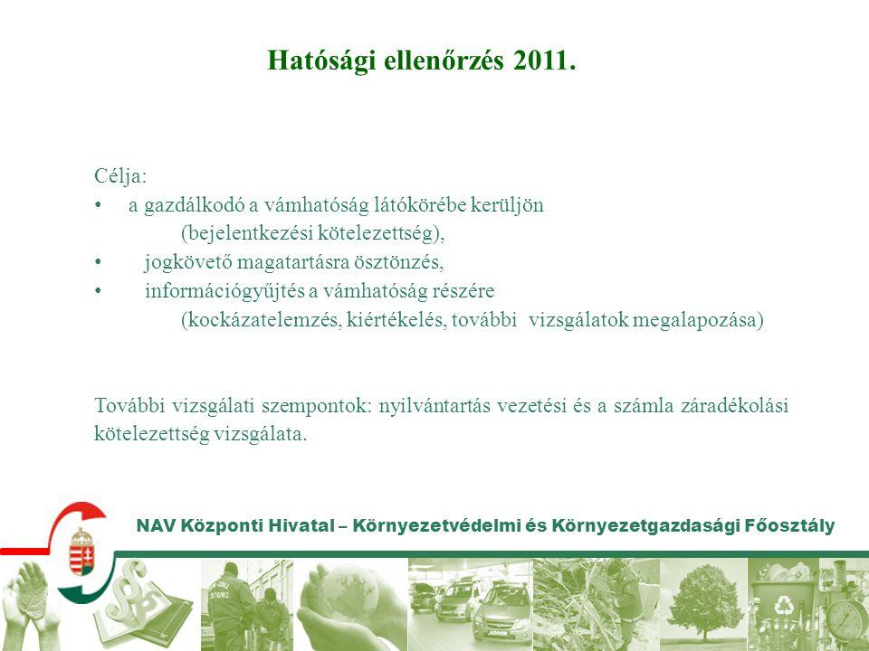 NAV Központi Hivatal – Környezetvédelmi és Környezetgazdasági Főosztály Hatósági ellenőrzés 2011. Célja: a gazdálkodó a vámhatóság látókörébe kerüljön