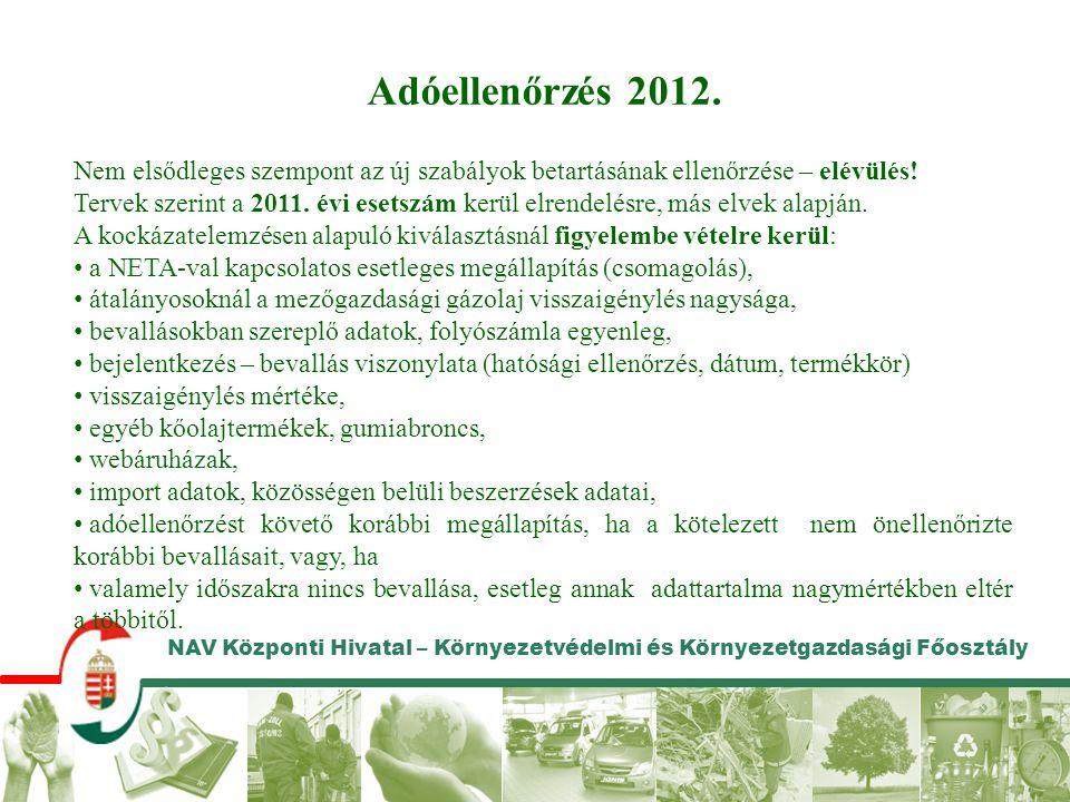NAV Központi Hivatal – Környezetvédelmi és Környezetgazdasági Főosztály Adóellenőrzés 2012. Nem elsődleges szempont az új szabályok betartásának ellen
