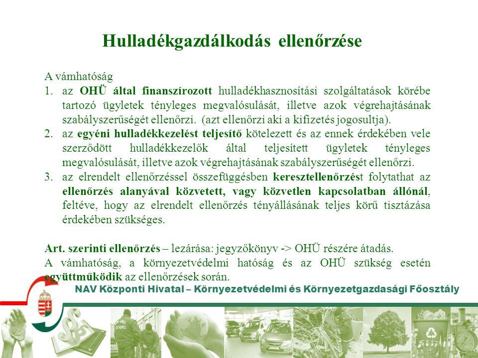 NAV Központi Hivatal – Környezetvédelmi és Környezetgazdasági Főosztály Hulladékgazdálkodás ellenőrzése A vámhatóság 1.az OHÜ által finanszírozott hul