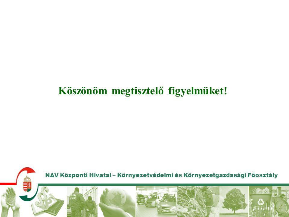 NAV Központi Hivatal – Környezetvédelmi és Környezetgazdasági Főosztály Köszönöm megtisztelő figyelmüket!