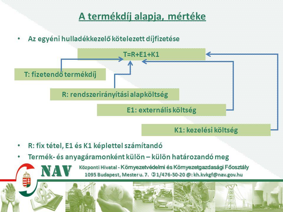 Központi Hivatal - Környezetvédelmi és Környezetgazdasági Főosztály 1095 Budapest, Mester u. 7.  1/476-50-20 @: kh.kvkgf@nav.gov.hu NAV A termékdíj a