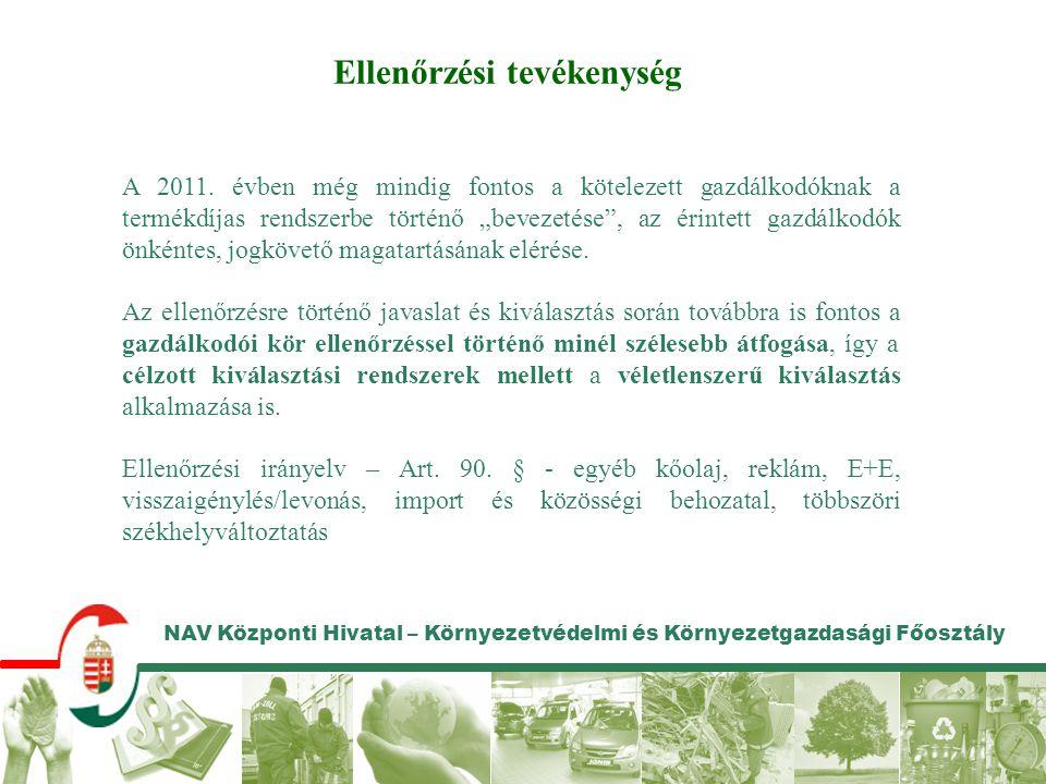 NAV Központi Hivatal – Környezetvédelmi és Környezetgazdasági Főosztály Ellenőrzési tevékenység A 2011. évben még mindig fontos a kötelezett gazdálkod