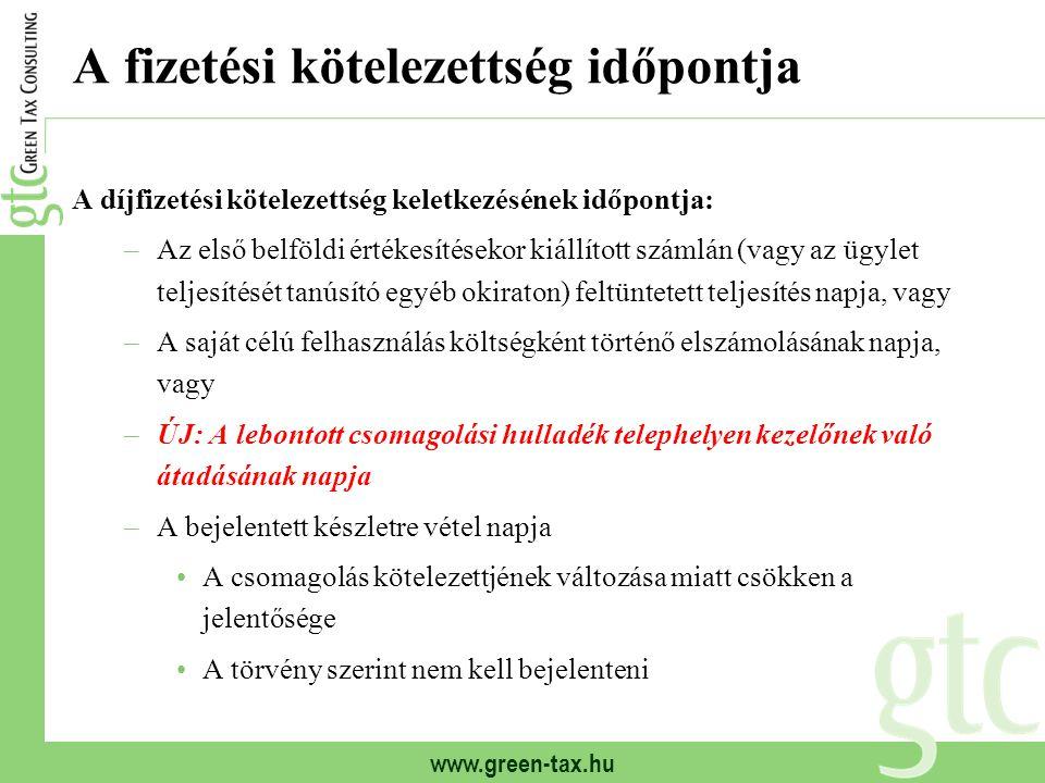 www.green-tax.hu A fizetési kötelezettség időpontja A díjfizetési kötelezettség keletkezésének időpontja: –Az első belföldi értékesítésekor kiállított