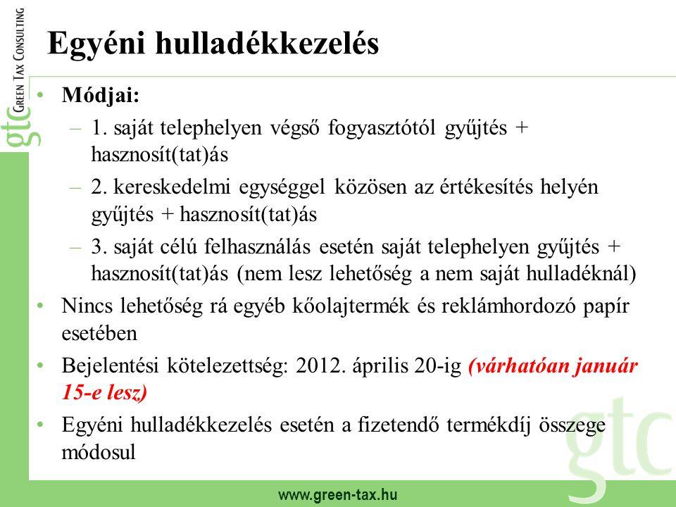 www.green-tax.hu Egyéni hulladékkezelés Módjai: –1. saját telephelyen végső fogyasztótól gyűjtés + hasznosít(tat)ás –2. kereskedelmi egységgel közösen